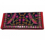 Metalcrafts embroidered ladies pouch multi color Rajasthani bird design 28 cm04