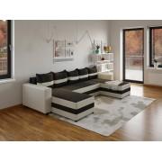 Smartshop Rohová sedačka AVUKANA, černá/bílá ekokůže