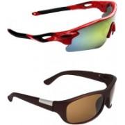Zyaden Sports, Wrap-around Sunglasses(Multicolor, Brown)