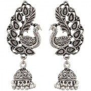 Peacock Silver Antique Jhumki Earring Peacock Shape Big Size 5 CM Beautiful Light Weight Wedding Party College Wear Gift