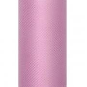 Dekoranyag, tüll, 30CM, 9M, púder pink