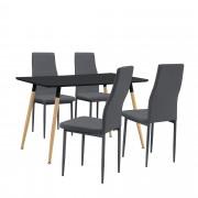PremiumXL - [en.casa] Design blagovaonski set - stol (crni,120x70cm) sa 4 stolice (crne)