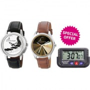 Combo of Jack Klein Stylish Round Dial Analog Wrist Watches And Car Watch