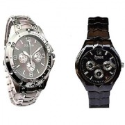 IIK Collction Silver and IIK Black Women Watches Couple for Men and Women