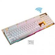 Soke-Six Backlit Keyboard,Wireless Fast-Charging keyboard Suspended Keycap Illuminated Mechanical Feel Gaming Keyboard 104 Keys for Laptop Desktop PC (White)
