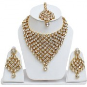 Lucky Jewellery Designer White Color Stone Gold Plating Partywear Necklace Set For Girls & Women