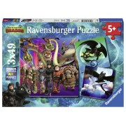 PUZZLE DRAGONS III, 3X49 PIESE - RAVENSBURGER (RVSPC08064)