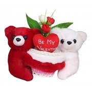 Tickles Romantic Loving Couple with Be My Valentine Heart Rose Basket