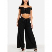 CheapChic Black Lace Up Crop Top and High Rise Wide Leg Pants (2 PCE SET) Multicolor