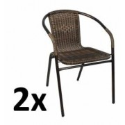 Set 2x Scaune Rattan si Metal pentru Curte Gradina Terasa sau Balcon Culoare NegruMaro