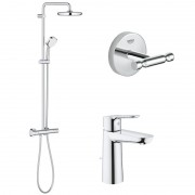 Pachet: Coloana dus Grohe New Tempesta 210-27922001, Baterie lavoar M Grohe Bauegde-23758000, Agăţătoare Grohe BauCosmopolitan-40461001