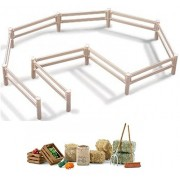 Schleich Farm Life Sturdy White Pasture Fence 40186 and Large Feed Set 42105 with Hay, Straw, Fruit, Pitchfork...
