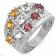 Дамски сребърен пръстен с естествени цитрини и родолити