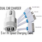 Car Charge Dual with 5 in 1 Charging Cable CODENT-0681