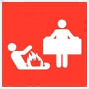 Brandbestrijdingsbord - ''''Branddeken'''' - Zelfklevend