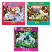 Ceaco Unicorn 100 piece Kids Puzzle Set: Rainbow Unicorn Family, The Castle Unicorns, and Unicorn Waterfall
