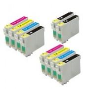 Multipack 10 cartucce compatibili Epson per stampanti Stylus D120 D78 D92 DX 4000 4050 4400 4450 5000 5050 6000 6050 7000F 7450 8400 8450 SX 200 SX 205 SX 400 SX 405 S20 BX 300F SX 105 SX 600FM B40W BX300F BX600FW