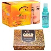 Pink Root Orange Bleach Cream Hair Serum and Gold Facial Kit Pack of 3