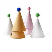 Rice 6-Pack Paper Pom Pom Party Hats
