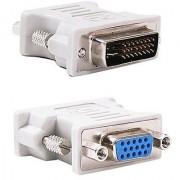 HOC DVI Male 24+5 pin to 15 pin VGA Female Adapter for Dual Monitor Display