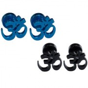 Men Style Best Quality Om Piercing Combo (2 Pairs) Black and Blue Stainless Steel Stud Earring Men and Women