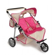 Twin Doll Jogger Stroller With Diaper Bag, Off White/Pink Designed (Bitty Twins)