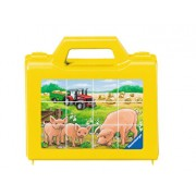 Puzzle cuburi - Animale la ferma, 12 piese