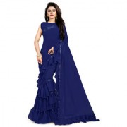 Anjaneya Sarees Women's Georgette Designer Self Design Solid Ruffle Saree With Blouse Piece-Navy Blue