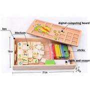 Emob 2 in 1 Multi Functional Educational Wooden Digital Computing Learning Blocks Box Set For Kid's (Multicolor)