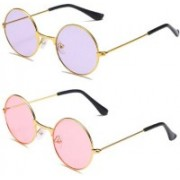 kingsunglasses Round Sunglasses(Pink, Violet)