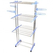 Sky Ray Heavy Duty Stainless Steel Cloth Drying Stand/Cloth Dryer Stand - Prince Jumbo - 2 Poll - 3 Layer with wheel.