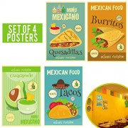 Limited edition: MEXICAN DECOR Set of Four 11x17 - Mexican Restaurant Decor, Food Decoration - Perfect Mexican Party Decorations - Funny Mexican Kitchen Decor.