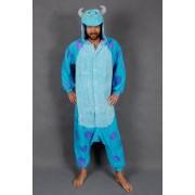 KIMU Onesie Sulley pak Monsters Inc. blauwe draak kostuum - maat XL-XXL - drakenpak jumpsuit huispak festival