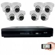 Kit vidéosurveillance IP 8 dômes 1mp 20m