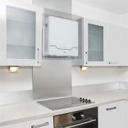 KLARSTEIN Karree Hotte aspirante à recyclage 60cm 640 m³/h LED inox verre blanc