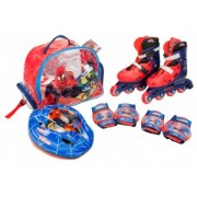 Role copii Saica reglabile 28-31 Spiderman cu protectii si casca in ghiozdan