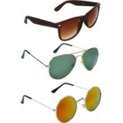 Zyaden Wayfarer, Aviator, Round Sunglasses(Brown, Green, Multicolor)