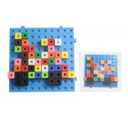 Linking Cube Blocks Pattern Cards And Building Baseboard Snap Block Interlocking Cubes And Building Base Constructive Building Block Toy With Patterns Building Block Toy Set Busy Bag Activity