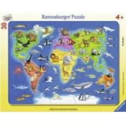 Puzzle RavensBurger Harta Lumii cu Animale 30 Piese