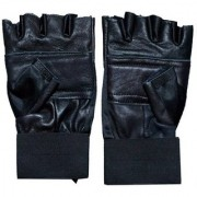 Leather Gloves Solid Black Protective Glove For Men's Women