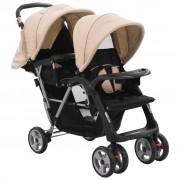 vidaXL Carrinho de bebé para gémeos aço cinzento-acastanhado e preto