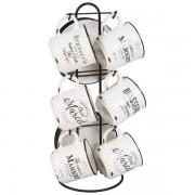 Maisons du monde 6 tazas y platillos de porcelana con soporte