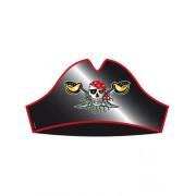 Folat Sombreros de Fiesta Pirata Rojos (8 Unidades), diseño de Pirata Negro Rojo y Dorado