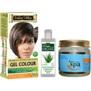 Natural Hair Colour Gel Medium Brown Covering Grays Hair Without Side Effects Hair Spa And CP Shampoo Combo Pack Of 3