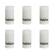 Bolsius Rustic Pillar Candle 130 x 68 mm White 6 pcs