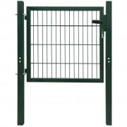 vidaXL Ограда врата, стомана, зелена, 106х150 см