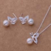 Set placat argint colier si cercei fluturasi perle