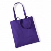 Merkloos Voordelig paarse katoenen draagtasje 10 liter