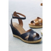 Next Wedges - Leather - Navy - Womens