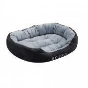 [en.casa]® Pelíšek - pro kočičky a pejsky - s oboustranným polštářem - oxford látka / PP-bavlna - 85 x 70 x 23 cm [L] - černý / šedý